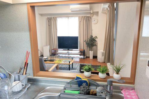 6.スタジオ和洋空間 マンション|キッチンカウンターからの風景