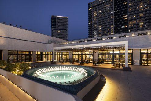 7.有明ガーデン|5F:水のテラス(噴水・夜)