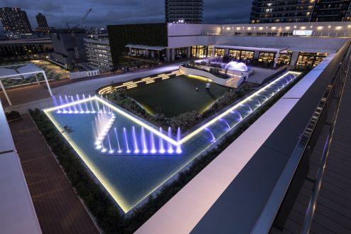 5.有明ガーデン|5F:水のテラス(全景・夜)